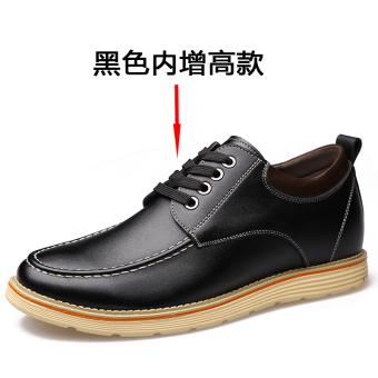 style hidden elevator 6 cm Men sneakers leather shoes 222 elevator paragraph black 222 elevator paragraph black