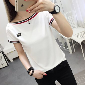 New Style Horizontal Neck Short Sleeves Woman T Shirt - intl