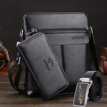 New style kangaroo bag men's bag (Black three sets) (Black three sets)