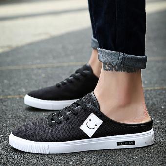 style men's summer sandals half slippers Black