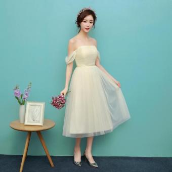 New style mid-length bridesmaid dress (1705 medium-length champagne) (1705 medium-length champagne)