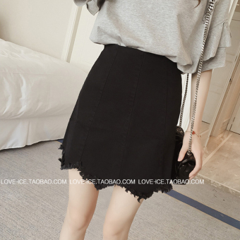 New style raw-cut irregular wavy skirt (Black) (Black)