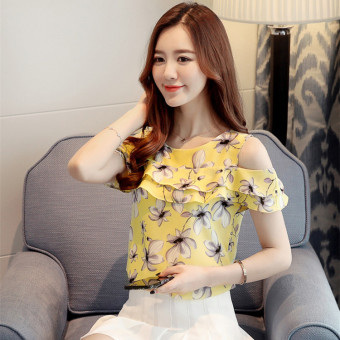 New style short-sleeved female floral chiffon shirt (Yellow)