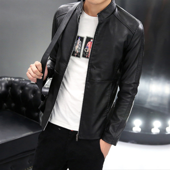 style Spring and Autumn mens motorcycle leather coat Black Men Clothing Jackets Coats Leather Jackets