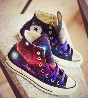 style spring and summer men and women hight-top graffiti shoes hand-painted shoes Galaxy