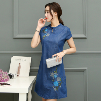 New style summer cowboy dress (Dark blue color)