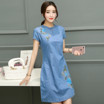 New style summer cowboy dress (Light blue)
