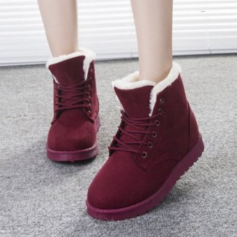 New Women Faux Fur Lining Round Toe Winter Warm Flat Ankle Snow Boot Ski Shoes wine red - intl