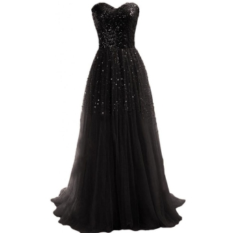 New Women Sexy Strapless Sequins Cocktail Party Ball Gown Evening Long Dress