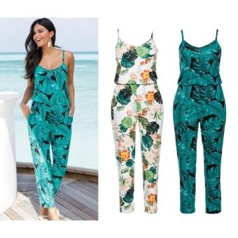 New Women V Neck Sleeveless Floral Print Ladies Summer Beach Casual Jumpsuit - intl