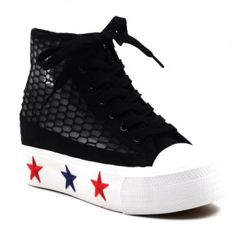 New York Sneakers Camryn Platform High Cut Shoes (Black)