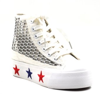 New York Sneakers Camryn Platform High Cut Shoes (White)