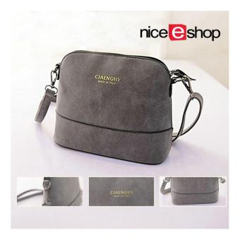 niceEshop Women Vintage Frosted PU Leather Messenger Bag, Dark Grey
