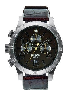 Nixon 48-20 Men's Brown Leather Strap Watch A363-1887