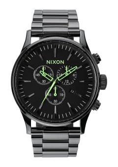Nixon Sentry Chrono Men's Gunmetal Stainless Steel Strap Watch A386-1885