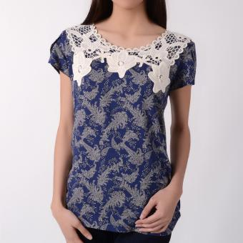No Apologies Woven Shorts Sleeves Blouse NFT04-0092 (Navy Blue)