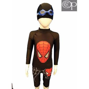 op AR3001 black spider long sleeves rash guard top with cycling bottom rash guard set swimwear
