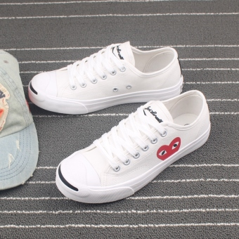 Open smile female lace canvas shoes (White [red cloth])