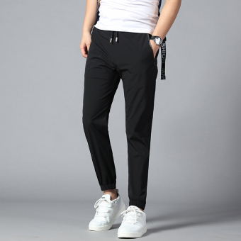 Outdoor Slim fit skinny quick-drying pants athletic pants (17805 black (nylon single layer thin))