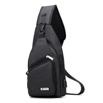PATHFINDER Men Chest Pack Single Shoulder Strap Back Bag CanvasTravel Men Crossbody Bags Rucksack Chest Bag with USBInterface-Black - intl