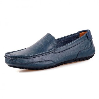 PATHFINDER Men Driving Leather Loafers Shoes Slip Ons (Blue)