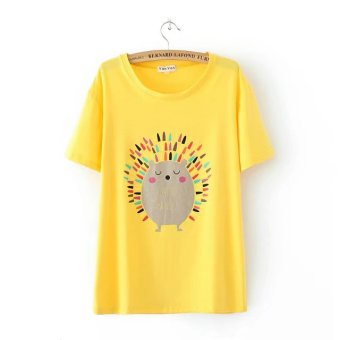 Pattern cute summer Plus-sized female Top wild cotton short-sleeved t-shirt (Yellow)