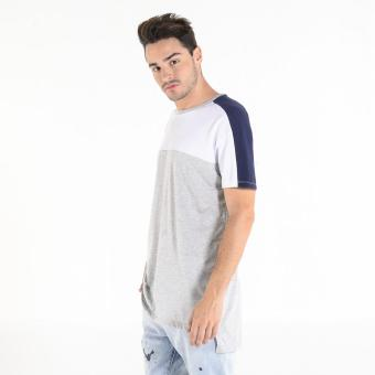 PENSHOPPE Men's Color-Blocked Hi-Low Crewneck Tee (Gray)