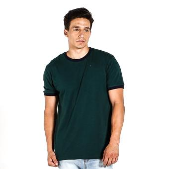 Penshoppe Semi Fit Tee With Contrast Trim (Dark Green)