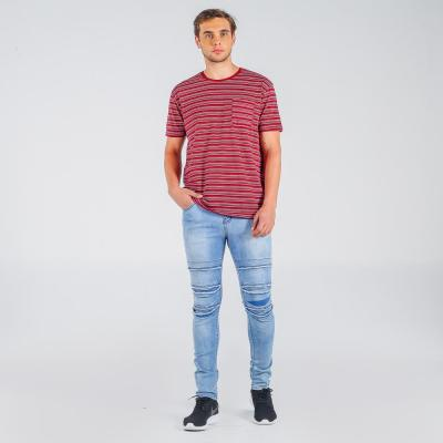 Penshoppe Skinny Fit 5-Pocket Jeans With Ripped And Repaired Detail(Powder Blue)