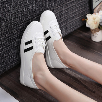 People in this art female flat white shoes shallow mouth canvas shoes (White)