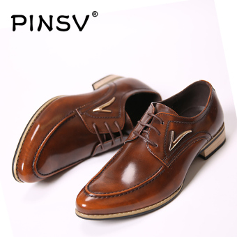 PINSV Leather Men Formal Shoes Business Oxford Shoes (Brown)