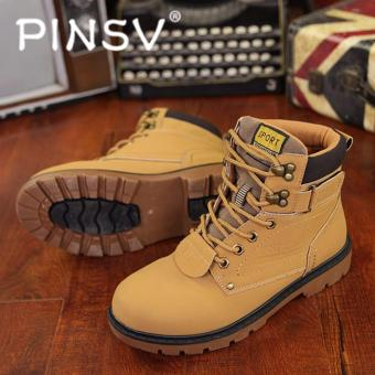 PINSV Men Boots Fashion Martin Boots Outdoor Casual Cheap Timber Boots???Khaki??? Price Philippines