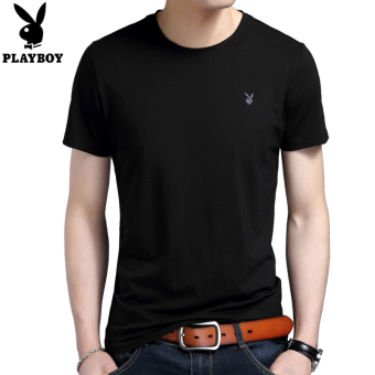 PLAYBOY Korean cotton solid color round neck polo shirt T-shirt (Black)