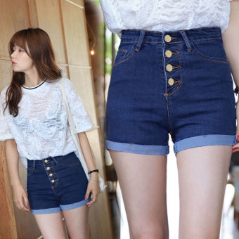 Plus Size High Quality Short Jeans Women High Waist Denim Shorts Female Shorts Pantalon Femme (Blue) - Intl