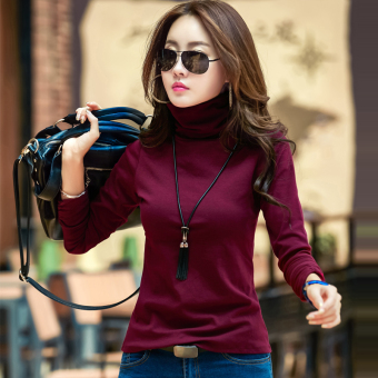 Plus velvet female long-sleeved heattech high collar bottoming shirt (Wine red color)