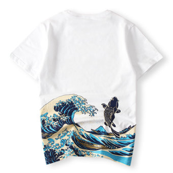 Popular brand Japanese-style cotton printed men Plus-sized T-shirt (White)