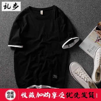 Popular brand Summer Cotton Short sleeved t-shirt (DT521 fake two-piece short T black)
