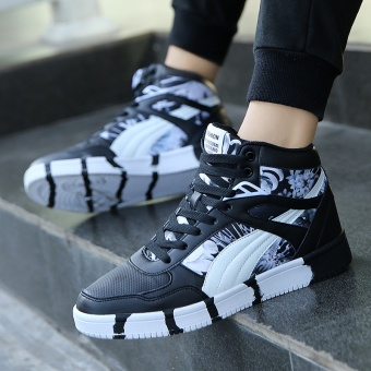 Popular High Sneakers Women Skateboarding Shoes Canvas Sneakers forWomen Fashion Sports Shoes Walking Outdoor Shoes ( Black &White ) - intl