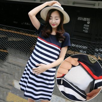 Pregnant Women Dress Summer Short Sleeves Cotton Breastfeeding Maternity Dresses Blue - intl