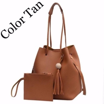 QF Korean 2 in 1 Bucket Bag and Make up Pouch Sling Bag - BROWN