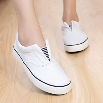 Women's Plus Size Canvas Lazy Shoes (Female Models + ZBF07053/07055 white) (