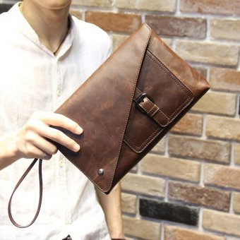 Retro Cowhide Leather Handbag for Men Classic Strap Hasp DesignEnvelope Bag Leisure Clutch Business Phone Bag Street FahsionWallet(Coffee) - intl