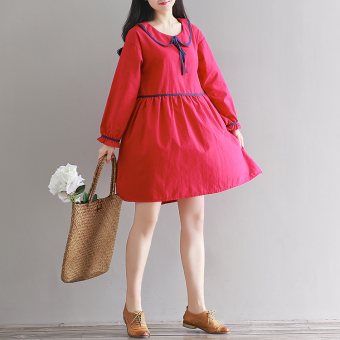 Retro Linen autumn New style dress