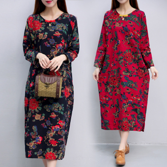 Retro Linen autumn New style dress gown (Red)