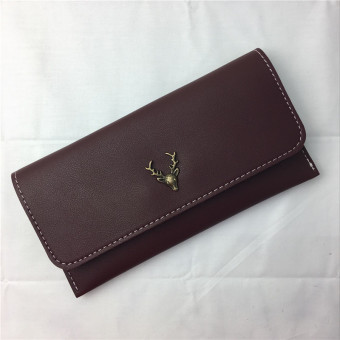 Retro New style deer women's wallet cool leather wallet (Red Wine) (Red Wine)