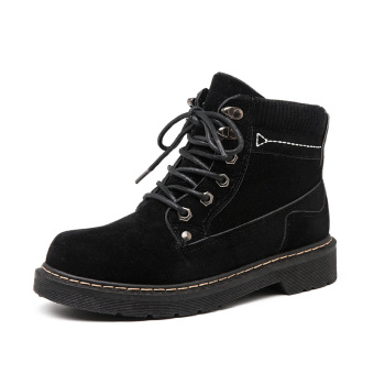 Retro Plus velvet female student female short boots snowfield boots (Black)
