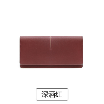 Rinka doll Korean-style female New style ultra-thin leather wallet (Deep wine red)