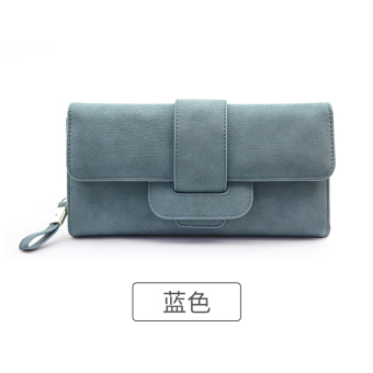 Rinka doll Korean-style New style female multi-functional leather wallet (Blue)