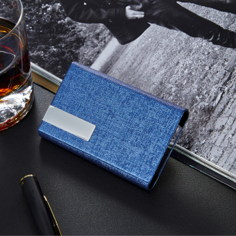 RZ Business Name Card Holder Luxury PU Leather & StainlessSteel Multi Card Case,Business Name Card Holder Wallet Credit cardID Case / Holder For Men & Women (Blue)