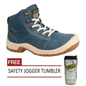 Safety Jogger Desert S1P High Cut Men Safety Shoes Footwear SteelToe (Navy Blue) with Free Safety Jogger Tumbler